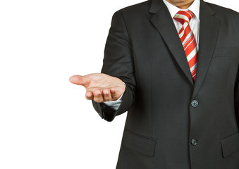 businessman with empty hand on white background