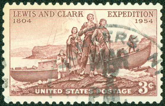 stamp shows Lewis and Clark Expedition Sesquicentennial