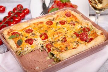 Tarte mit Lauch,Tomaten und Käse