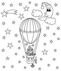 hot air balloon, vector illustration