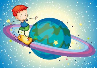 a boy on a planet