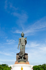 Big Buddha image with blue sky at Phutthamonthon, Nakhon Pathom,