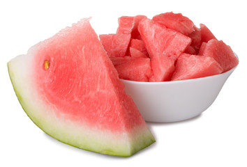 bowl with watermelon and slice