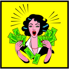 Clipart Illustration of a Retro Woman Holding Handfulls Of Cash