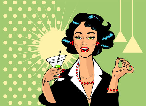 Woman drinking martini or cocktail retro vintage clipart