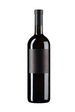 Black wine bottle on white