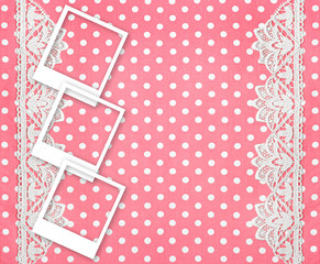three picture photo frames over pink background