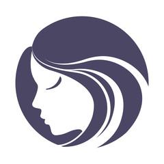 Girl portrait . Vector silhouette icon, monochrome