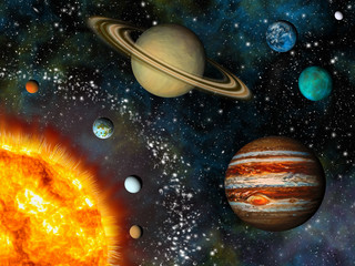 Wall Mural - Realistic Solar System display contains the Sun and nine planets
