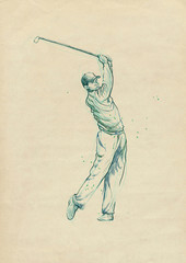 golf player - drawing