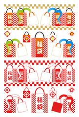 2013年巳年年賀状用イラスト素材(蛇福袋)赤一色カラフル2点セット