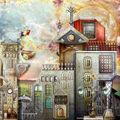 Canvas Prints Imagination Old fashioned village