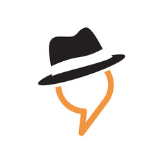 Logo talking, man in the hat # Vector