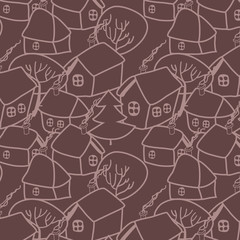 Christmas village in brown seamless pattern, vector