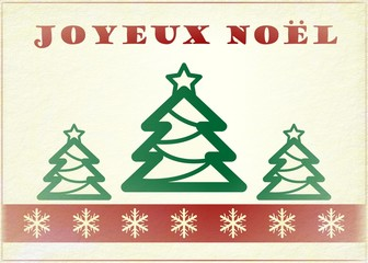 French Vintage Christmas Card - Joyeux Noël