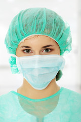 Portrait of female surgeon or nurse
