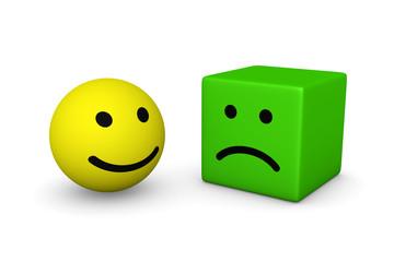 Happy smiley ball and sad smiley cube