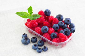 fresh bilberries and raspberries in a bowl