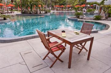 Tropical resort at swimming pool