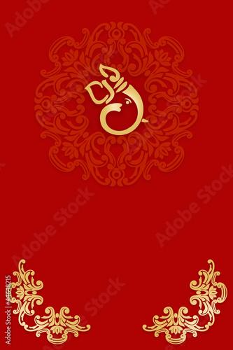 Greetings Invitation Card With Ganesha India Stock Photo And