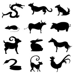 Chinese Astrology Animal Silhouettes