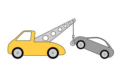 Abschleppwagen mit PKW, Illustration