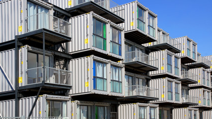 Hostel for students from containers. Le Havre, France.