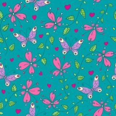 Seamless floral pattern with butterflies and flowers