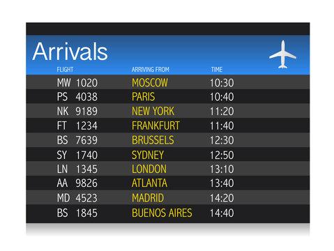 Airport arrival timetable illustration design