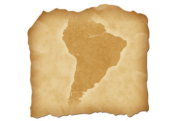 Vintage map of South America with antiqued edges