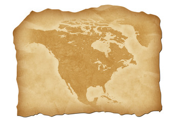 Vintage map of North America with antiqued edges