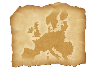 Vintage map of Europe with antiqued edges