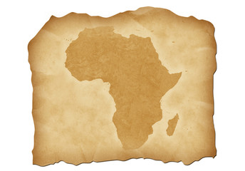 Vintage map of Africa with antiqued edges