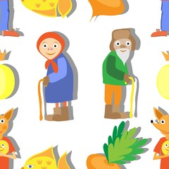 Elderly couple and fairytale animals background pattern