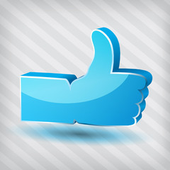 """""""Like"""" vector symbol on a stripped background"""
