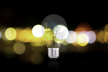 Electric light bulbs and lights out of focus