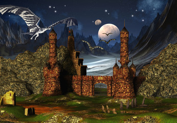Wall Murals Dragons Fantasy Scene With A Castle And Dragons