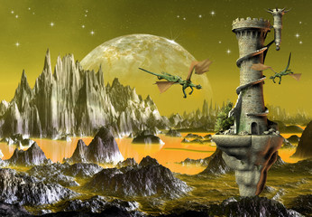 Spoed Fotobehang Draken Fantasy Scene With Dragons And A Tower