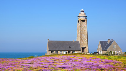 Fototapete - Lighthouse on Cap Levi Fermanville. Brittany, France.