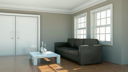 Wohndesign - braunes Sofa im Appartment