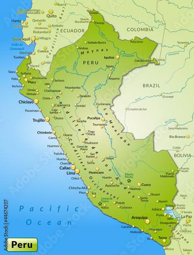 Peru Karte Umriss.Karte Von Peru Mit Nachbarlandern Stockfotos Und