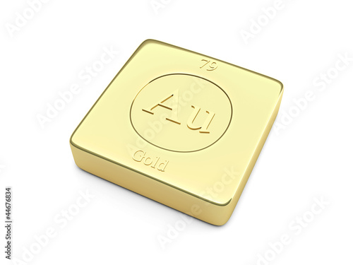 Gold Ingot Element Symbol In The Periodic Table Stock Photo And