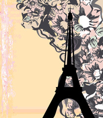In de dag Doodle vintage retro Eiffel card