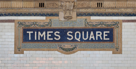 Times Square - New York city subway sign tile pattern