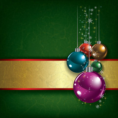 Christmas grunge background with decorations and gold ribbon
