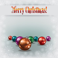 Cristmas greeting with decorations on white background
