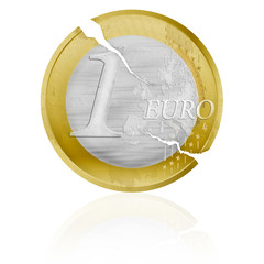 Euro coin with cracks as a symbol of the European crisis