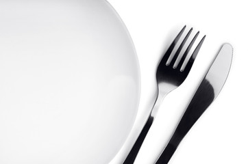 Plate, fork and knife