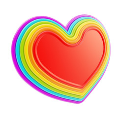 Heart symbol shape made of six rainbow colored layers