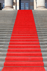 Red carpet stairs, success clipping path included